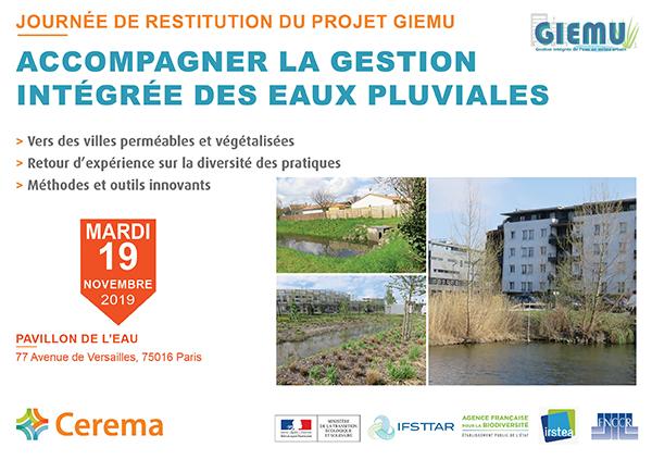 Journée de restitution du projet GIEMU : Accompagner la gestion intégrée des eaux pluviales – Cerema