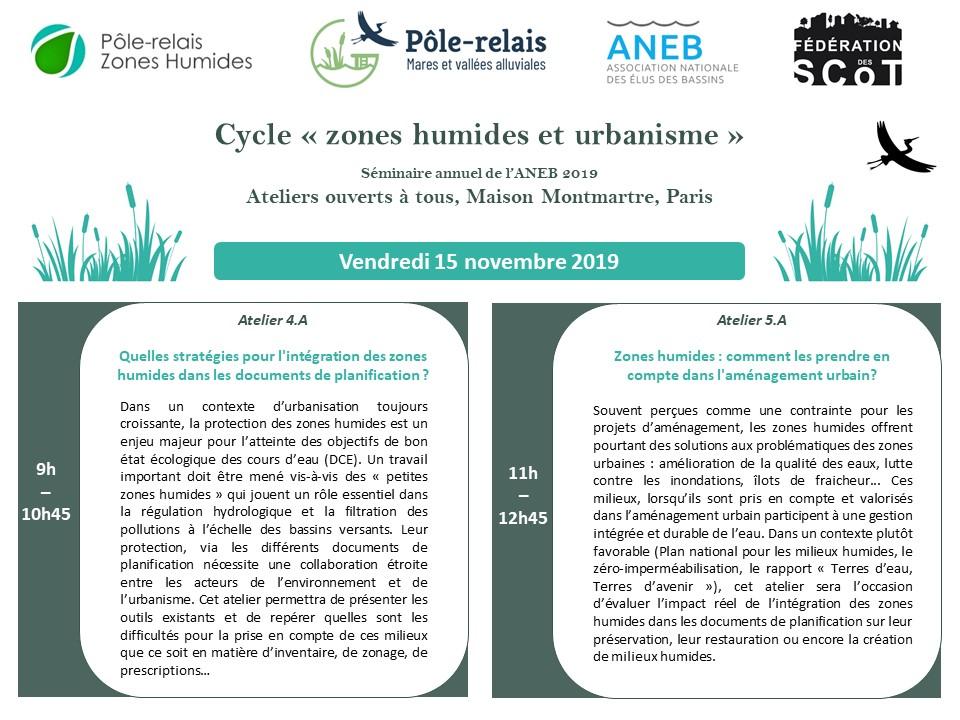 Ateliers Zones Humides et Urbanisme – 15 novembre 2019 – ANEB & Pole-Relais Mares et Vallées Alluviales