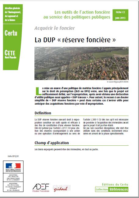 Fiche CERTU : DUP «réserve foncière»