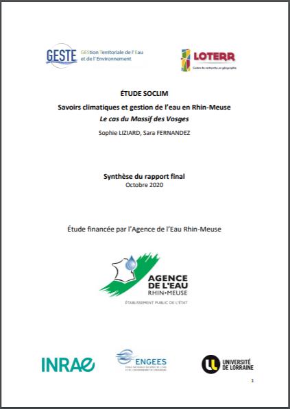 ÉTUDE SOCLIM «Savoirs climatiques et gestion de l'eau en Rhin-Meuse – Le cas du Massif des Vosges » Synthèse du Rapport Final