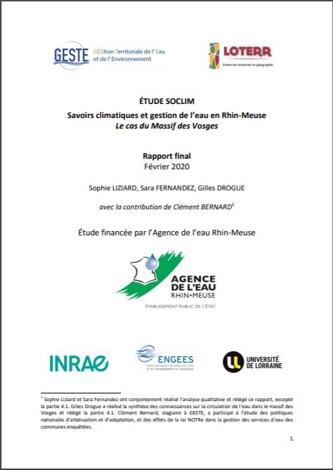 ÉTUDE SOCLIM Savoirs climatiques et gestion de l'eau en Rhin-Meuse Le cas du Massif des Vosges Rapport final Février 2020