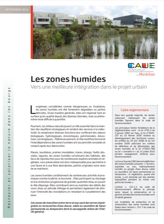 Les zones humides – Vers une meilleure intégration dans le projet urbain