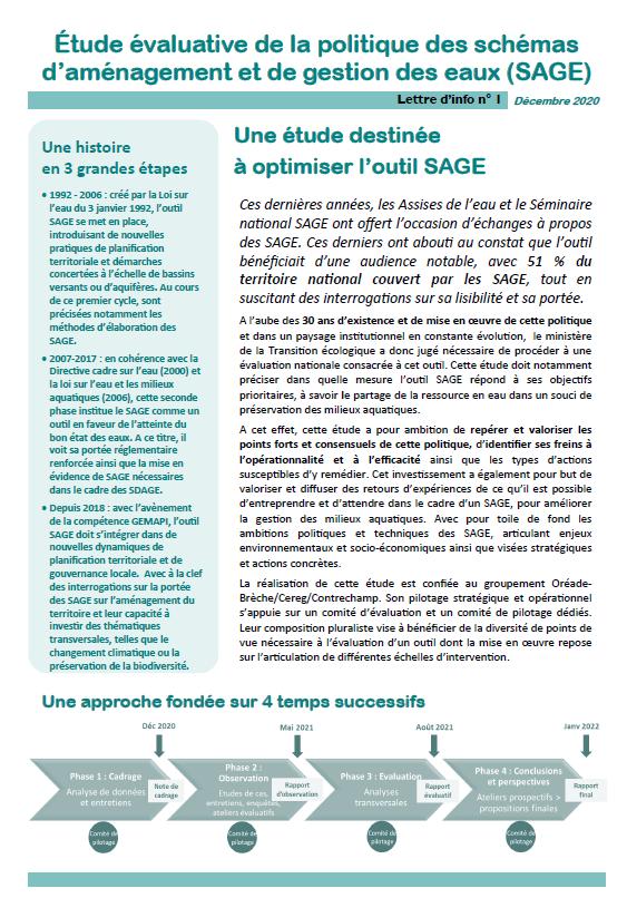 Étude évaluative de la politique des schémas d'aménagement et de gestion des eaux (SAGE)