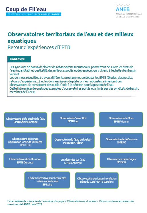 Observatoires de l'eau et des milieux aquatiques des syndicats de bassin